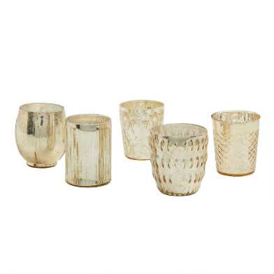 Gold Mercury Glass Votive Candleholder Set of 5