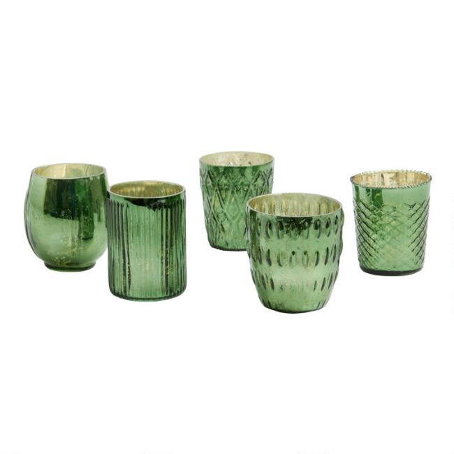 Green Mercury Glass Votive Candleholders Set of 5