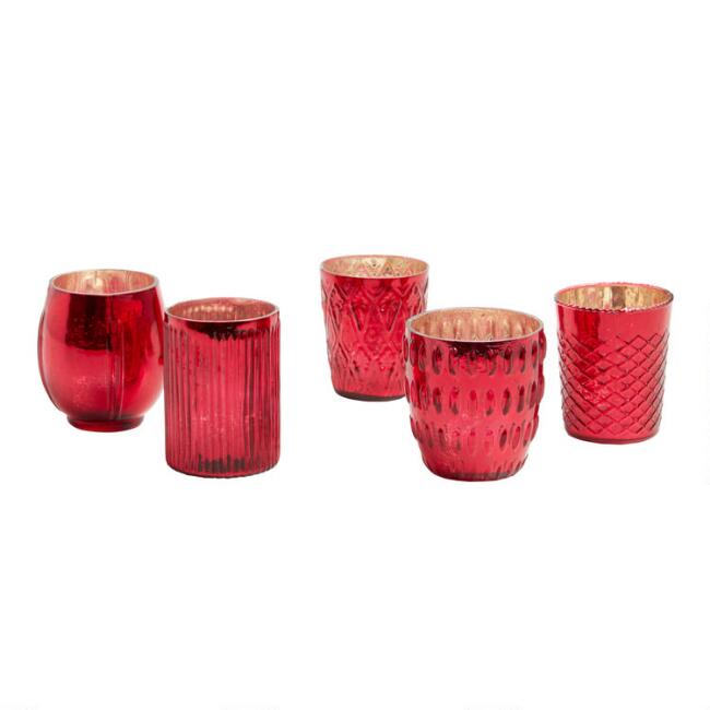 Red Mercury Glass Votive Candleholder Set of 5