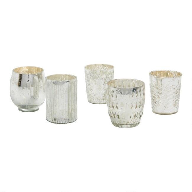 Silver Mercury Glass Votive Candleholder Set of 5
