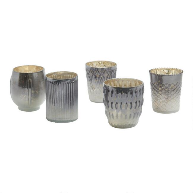 Gray Ombre Mercury Glass Votive Candleholder Set of 5
