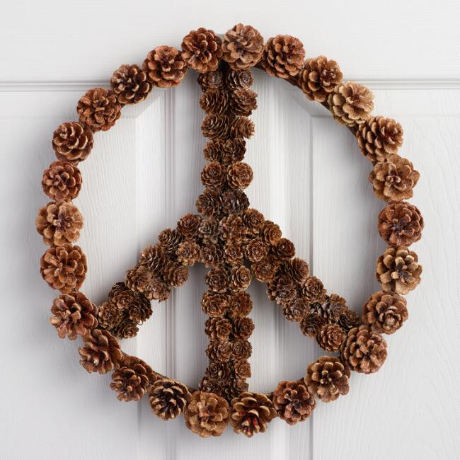 Pinecones Peace Sign Hanging Decor