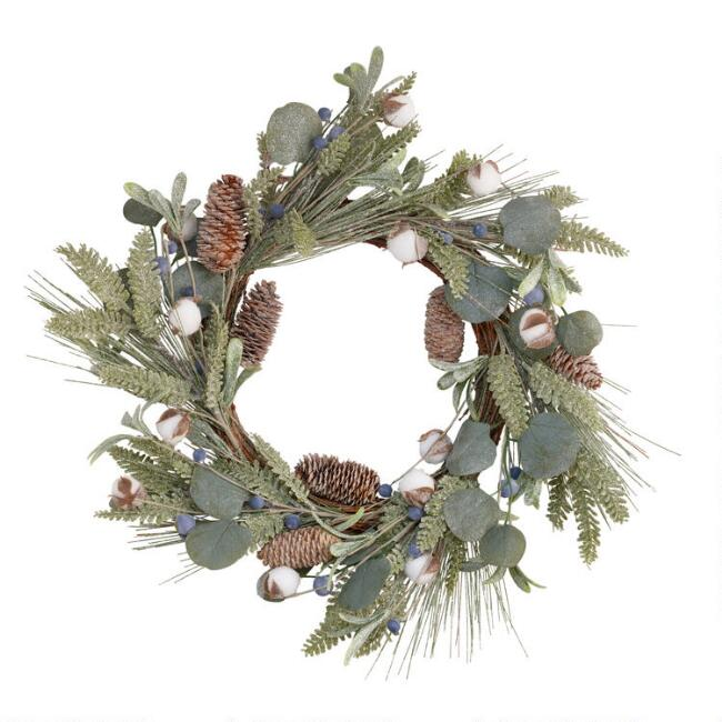 Faux Eucalyptus And Cotton Wreath
