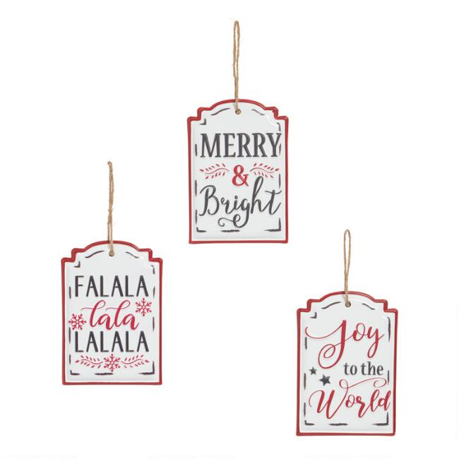 Enamel Holiday Signs Hanging Decor Set Of 3