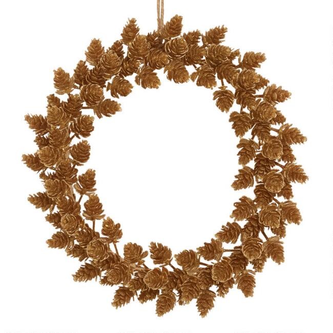 Gold Faux Pinecone Wreath