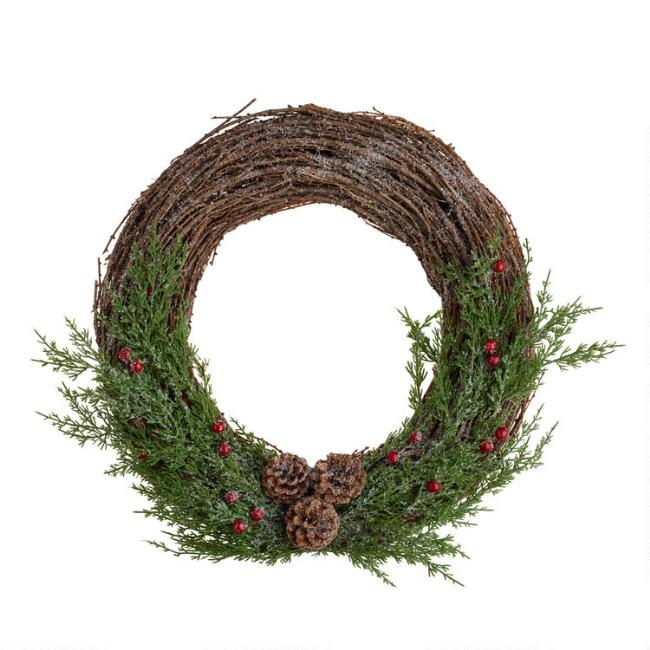 Faux Berry And Pinecone Vine Wreath
