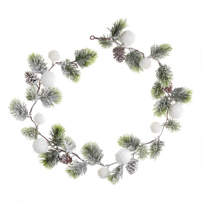 Pine And Snowball Garland