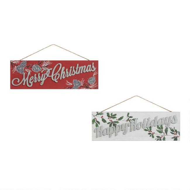 Holiday Greeting Signs Hanging Decor Set Of 2