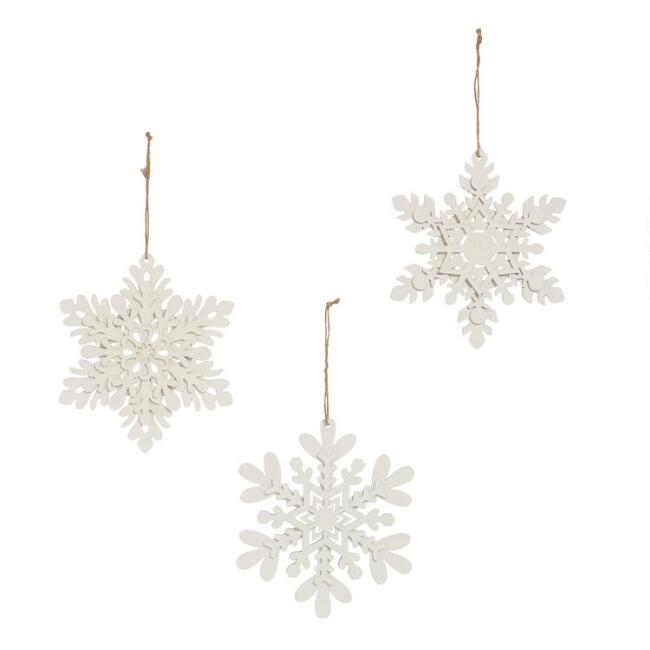 Icy Wood Snowflake Hanging Decor Set Of 3