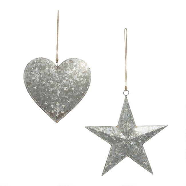 Galvanized Metal Heart And Star Hanging Decor Set Of 2
