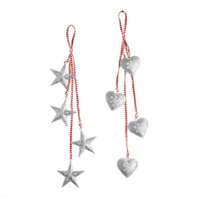 Cascading Metal Heart And Star Hanging Decor Set Of 2