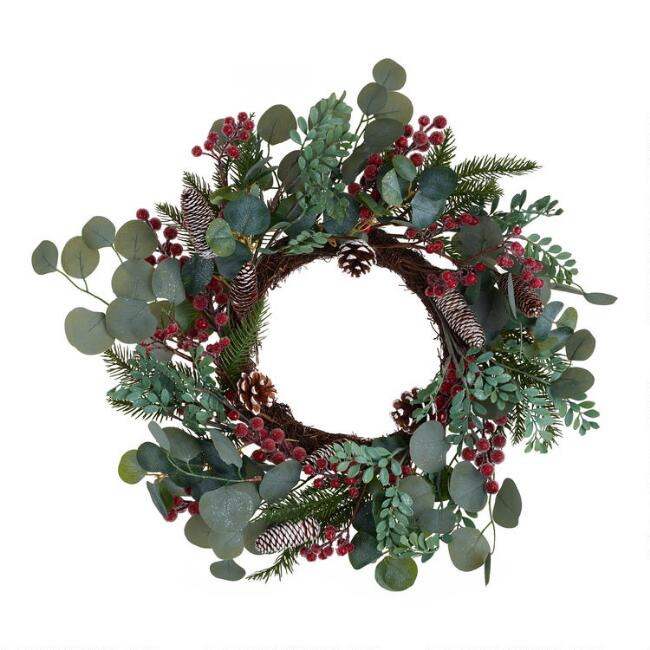 Pinecone And Faux Eucalyptus With Berries Wreath