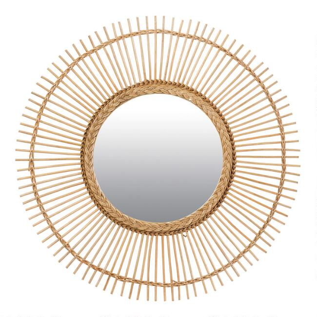 Round Natural Rattan Spokes Mirror