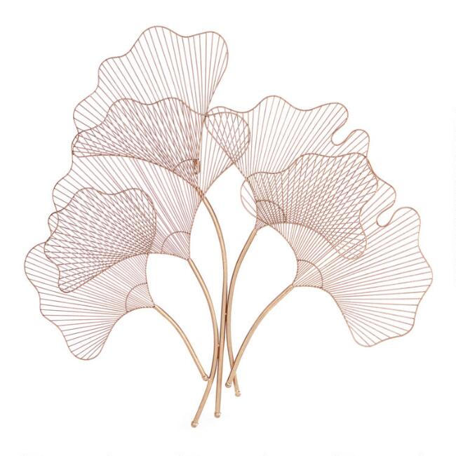 Rose Gold Iron Botanical Leaf Wall Decor