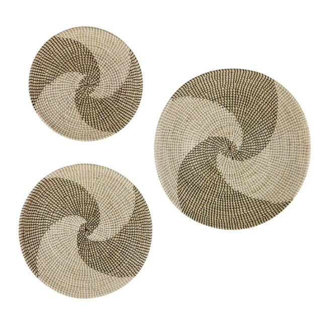 Round Natural Seagrass Two Tone Swirl Wall Decor Set of 3