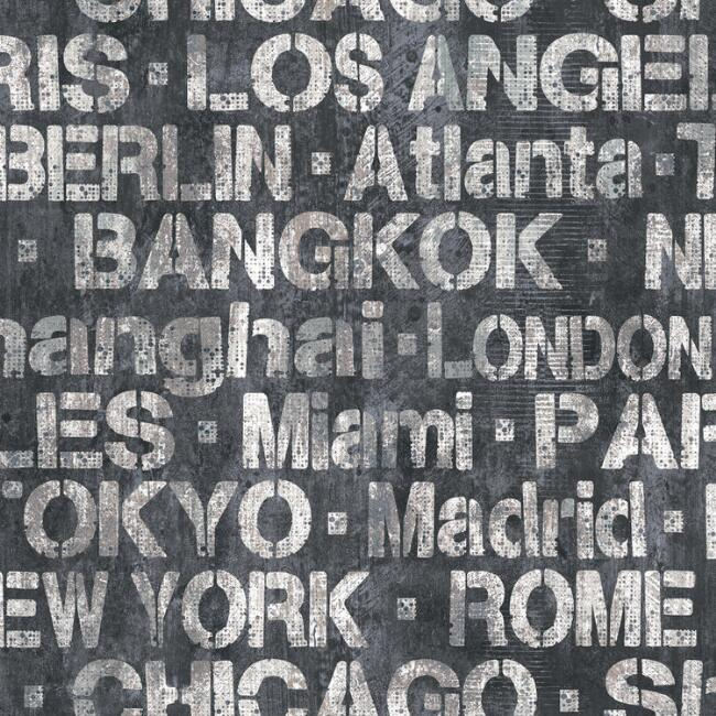 Black and White City Names Peel and Stick Wallpaper