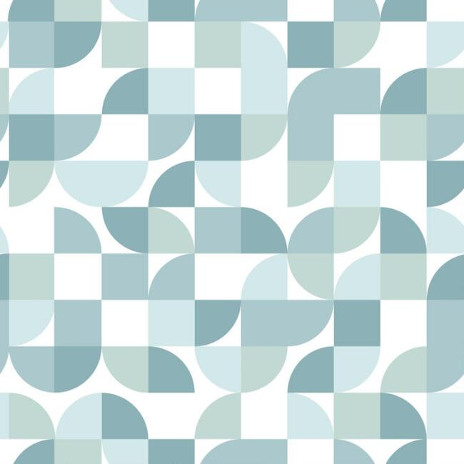 White and Blue Mod Geo Peel and Stick Wallpaper