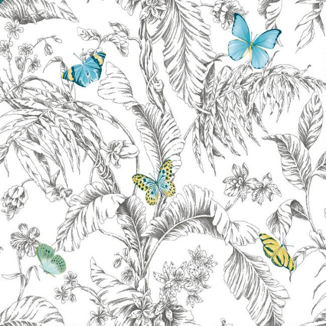 Multicolor Sketched Butterflies Peel and Stick Wallpaper