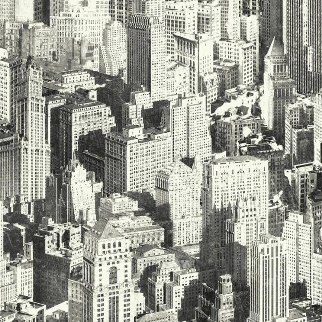 Black and White New York Cityscape Peel and Stick Wallpaper