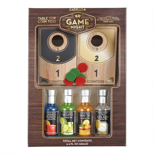 Game Night Tabletop Coin Toss Game And Drink Mixers Set