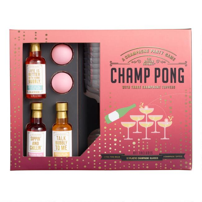 Champ Pong Drinking Game And Champagne Toppers