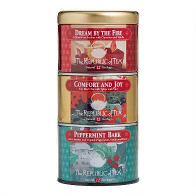 The Republic of Tea Holiday Stackable Tin Set 36 Count
