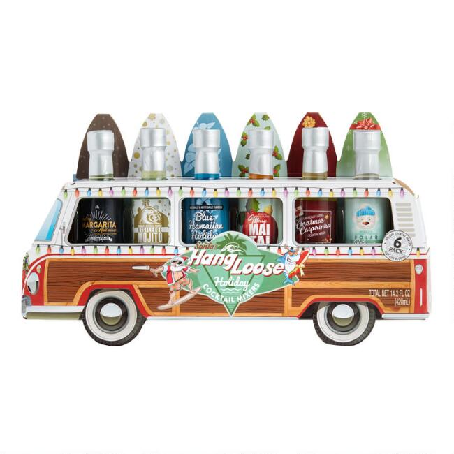 Santa's Hang Loose Woody Bus Holiday Cocktail Mixers 6 Pack