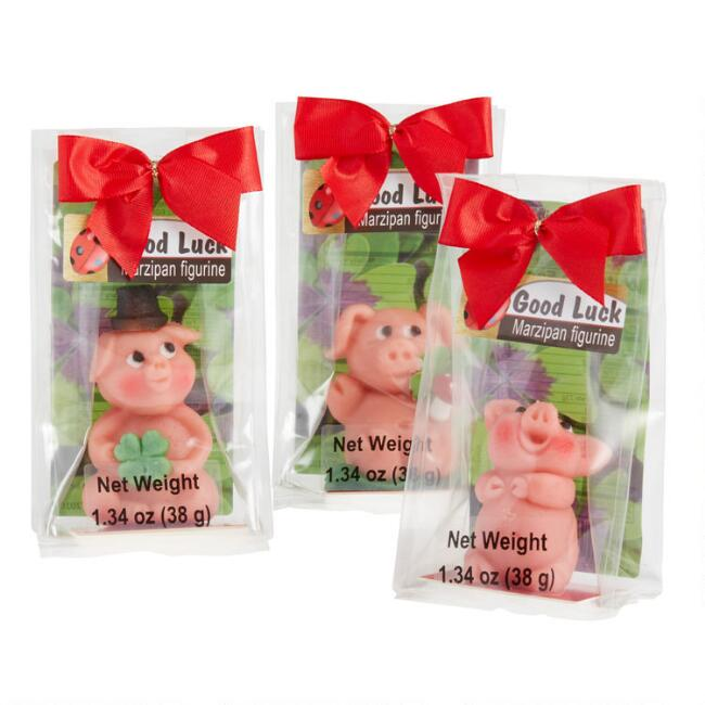 Odenwaelder Marzipan Pigs With Bow Set of 3