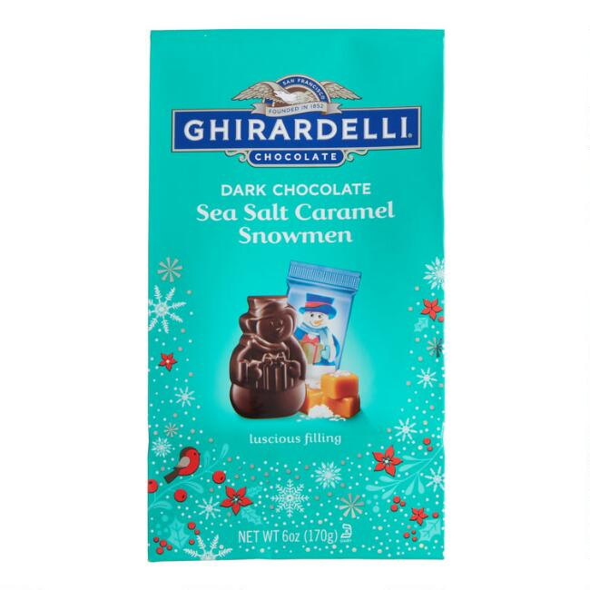 Ghirardelli Dark Chocolate Sea Salt Caramel Snowmen Bag