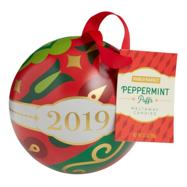 World Market® Peppermint Puffs Ornament Tin