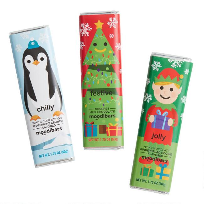 Moodibars Elf, Tree and Penguin Chocolate Bars Set of 3