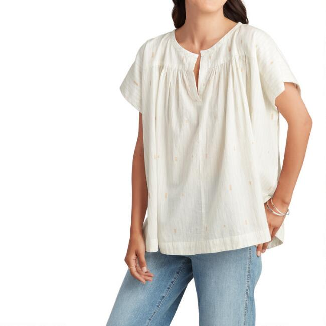 White Ruched Magnolia Top
