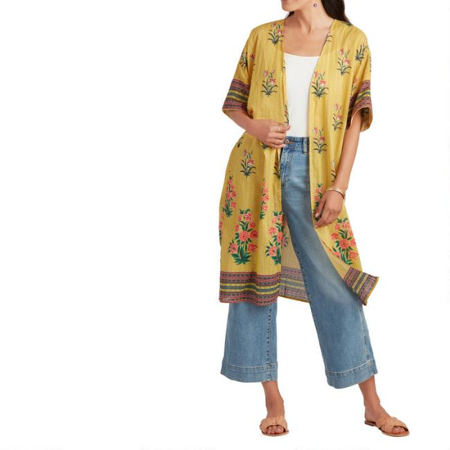 Yellow Floral and Stripe Kiara Kimono