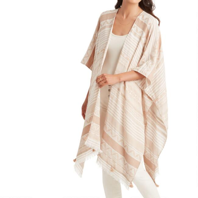 Tan And Ivory Geometric Stripe Textured Wrap