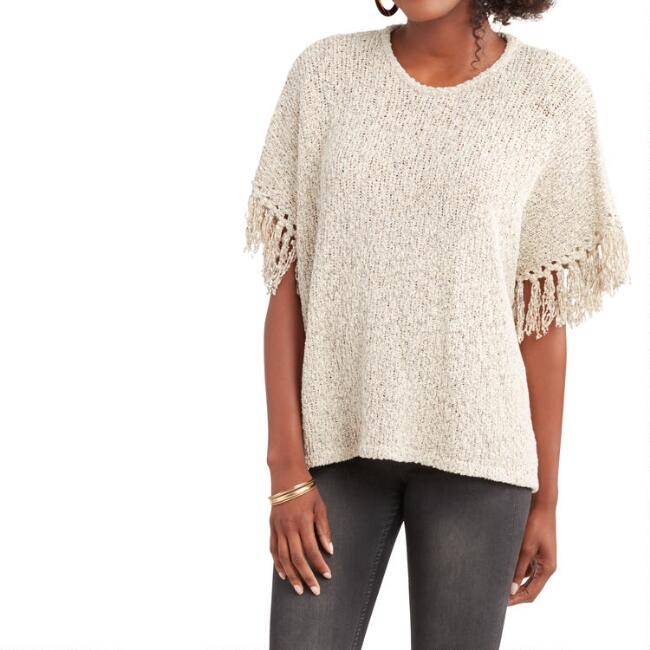 Ivory And Black Marled Mila Sweater with Fringe