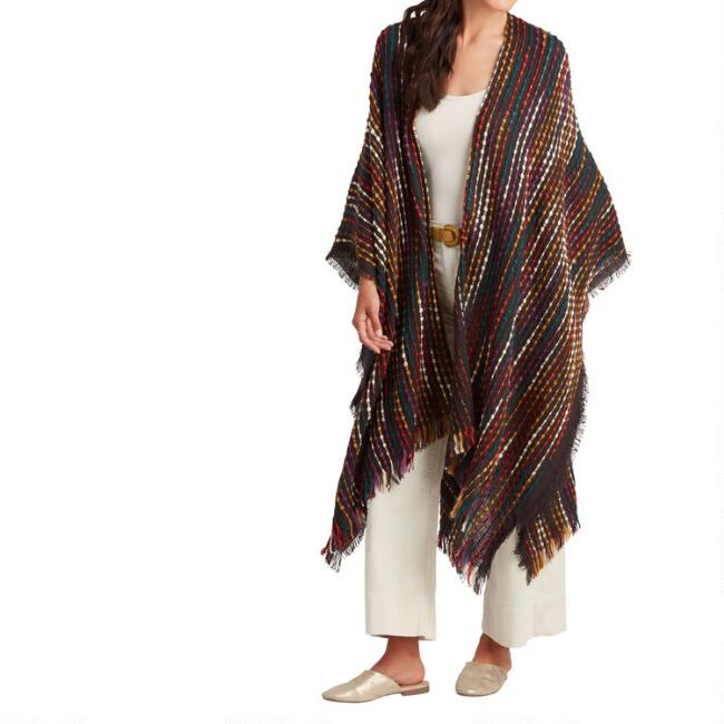 Multicolor Textured Stripe Mirage Wrap