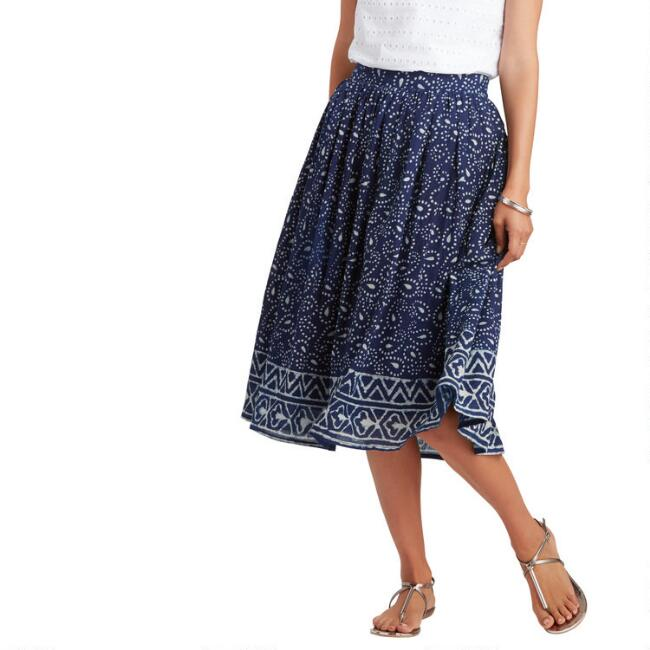 Indigo And White Paisley Print Suki Skirt
