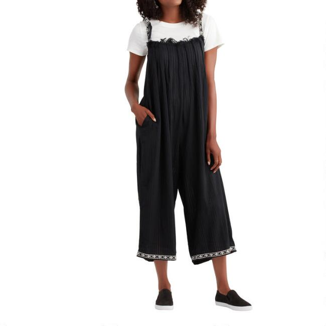 Black Embroidered Zerina Jumpsuit with Pockets