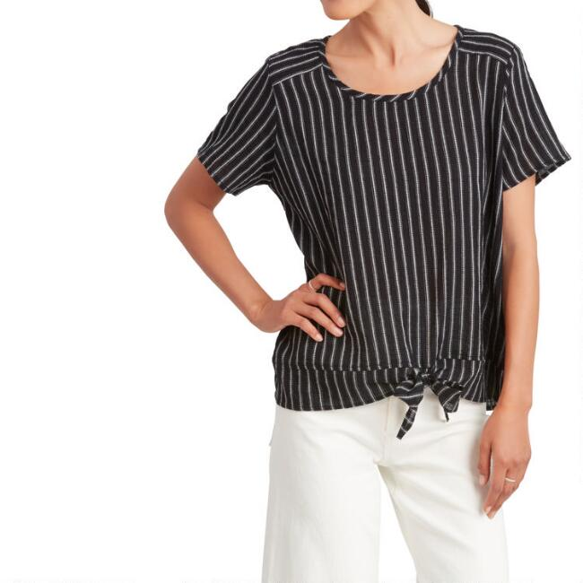 Black And White Woven Striped Astrid Top