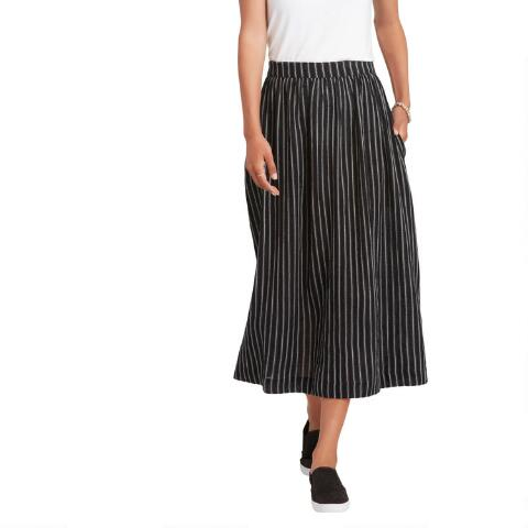 Black And White Woven Striped Astrid Skirt With Pockets