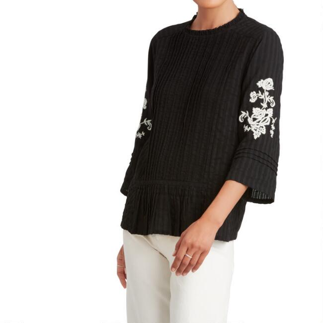 Black And White Floral Embroidered Sequoia Top