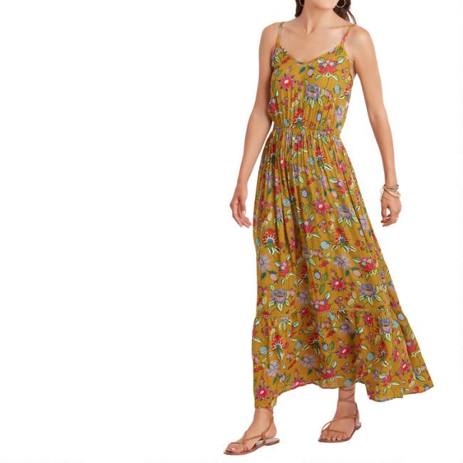 Mustard Multicolor Floral Chandra Dress
