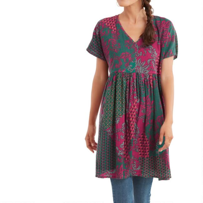 Teal, Maroon And Pink Floral Mixed Print Aster Dress