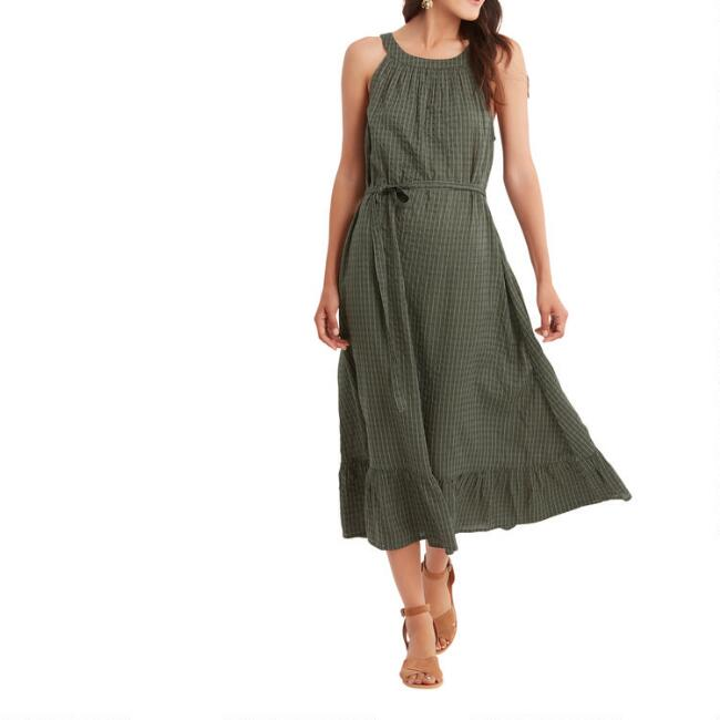 Agave Green And White Textured Stripe Dress