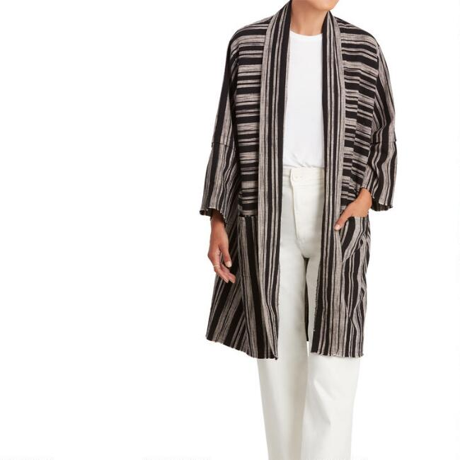 Black And Ivory Stripe Renee Jacket With Pockets