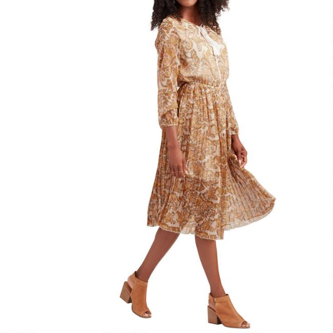Mustard And Tan Paisley Pleated Willow Dress