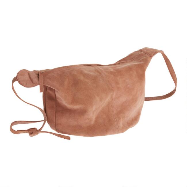 Tan Suede Hobo Crossbody Bag