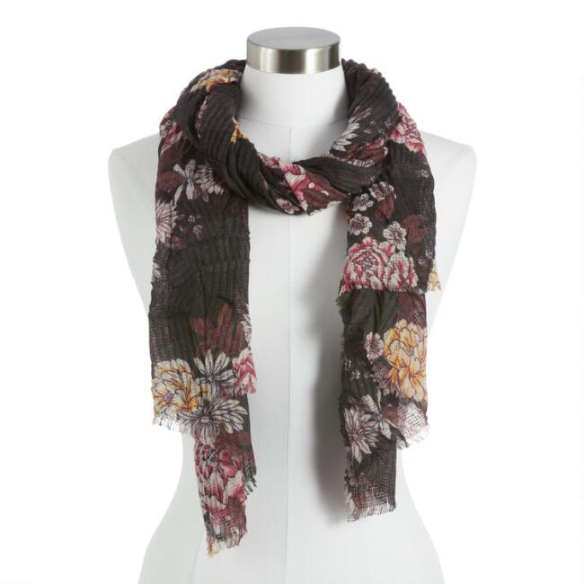 Charcoal Crinkle Textured Floral Scarf