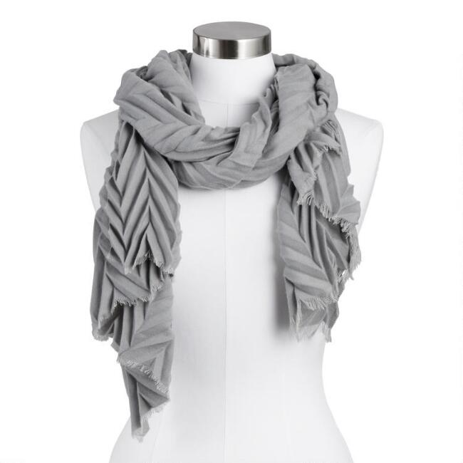 Gray Chevron Pleated Scarf
