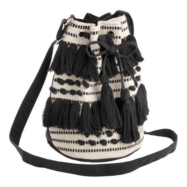 Black And White Textured Crossbody Bucket Bag